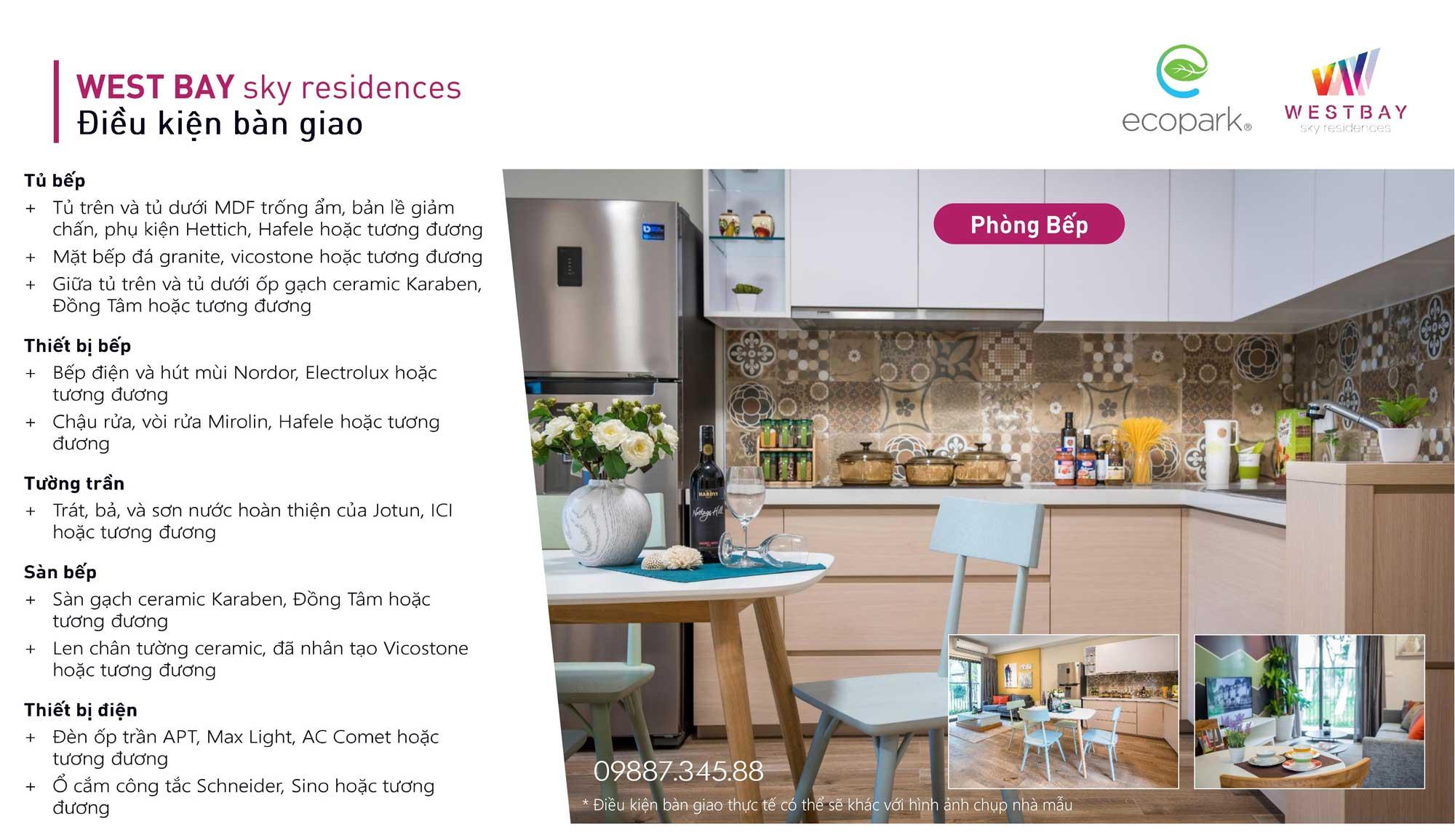 Tiêu chuẩn bàn giao phòng bếp chung cư West Bay Ecopark