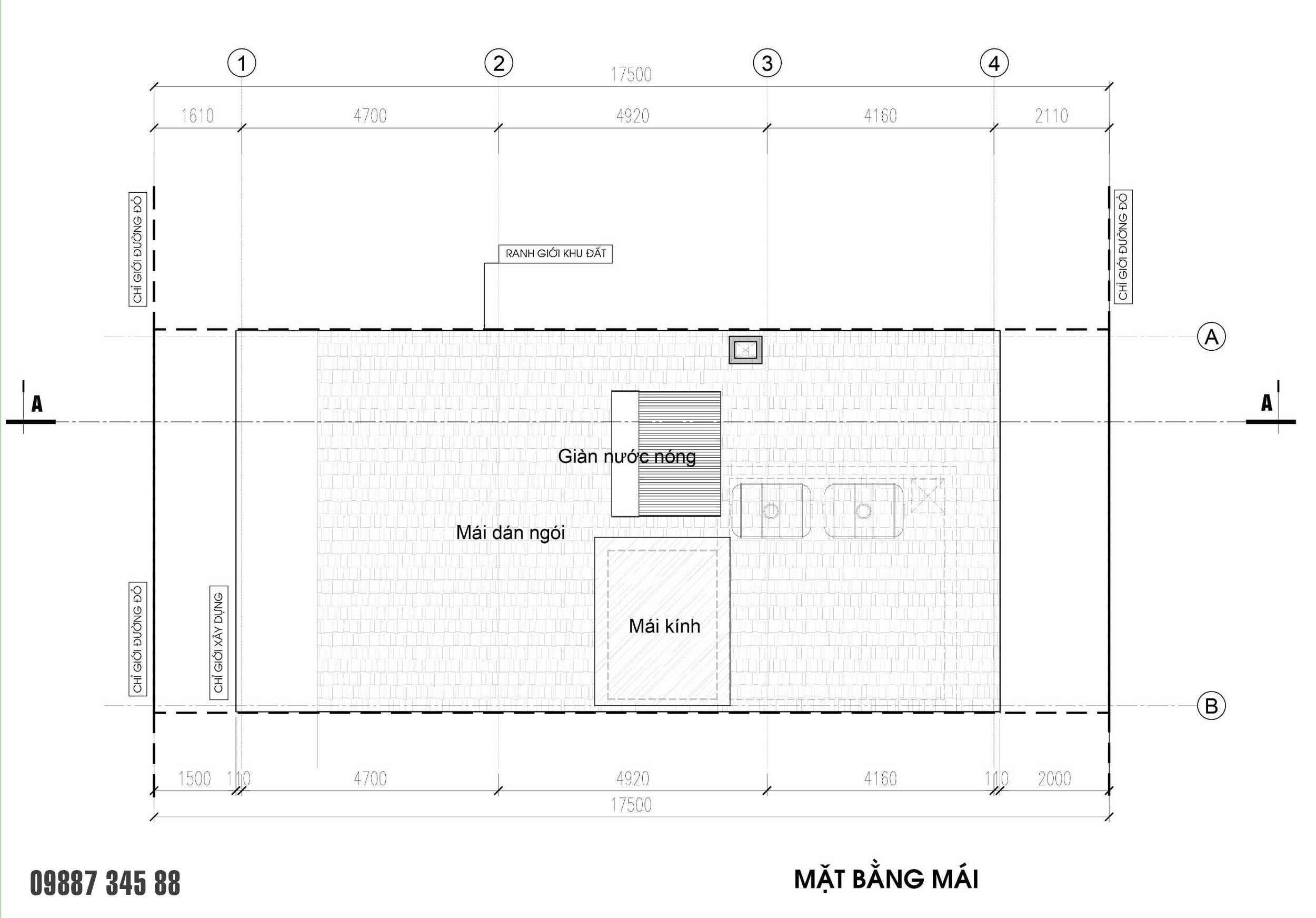 Mặt bằng mái - nhà phố Thủy Trúc(7x17,5m)