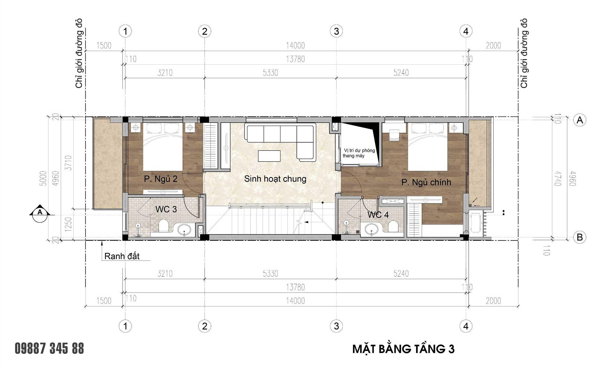 Mặt bằng tầng 03 - nhà phố góc Thủy Trúc(5x17,5m)