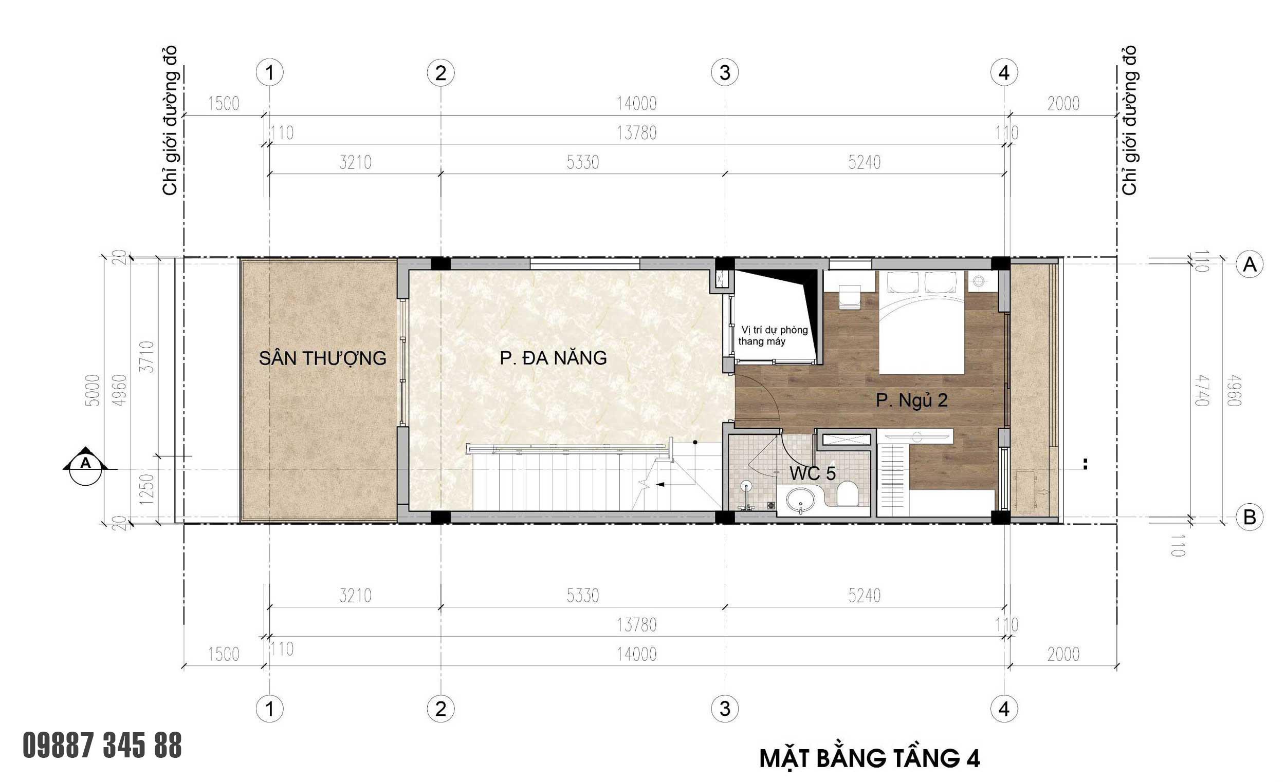 Mặt bằng tầng 04 - nhà phố góc Thủy Trúc(5x17,5m)