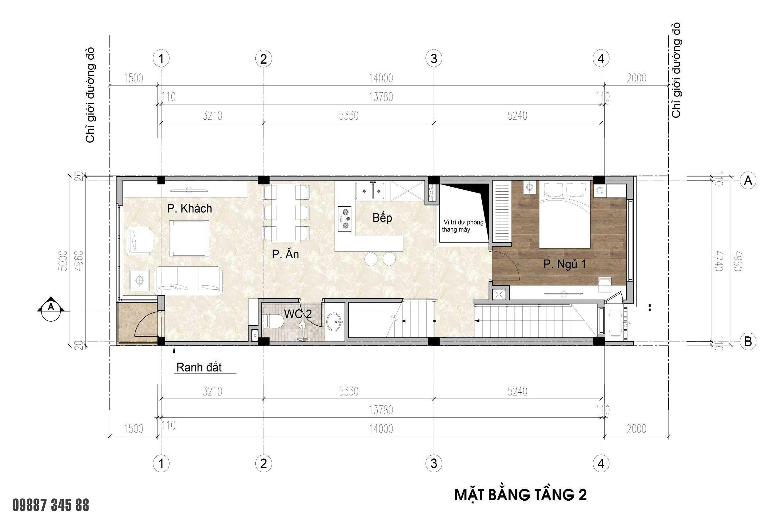 Mặt bằng tầng 2 - nhà phố điển hình Thủy Trúc(5x17,5m)
