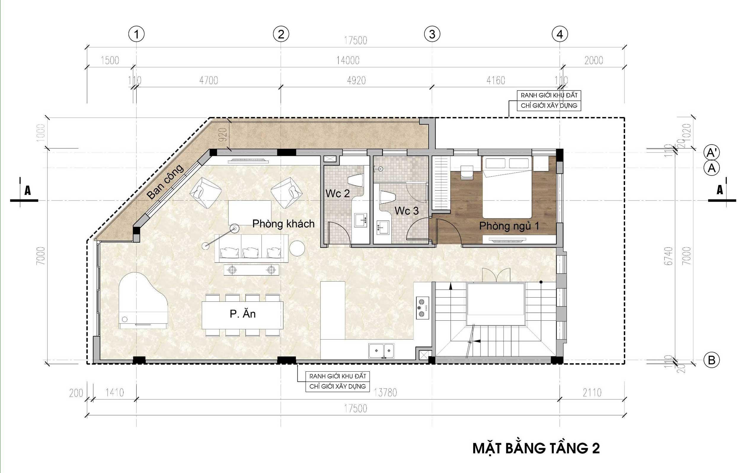 Mặt bằng tầng 2 - nhà phố góc Thủy Trúc(7x17,5m)