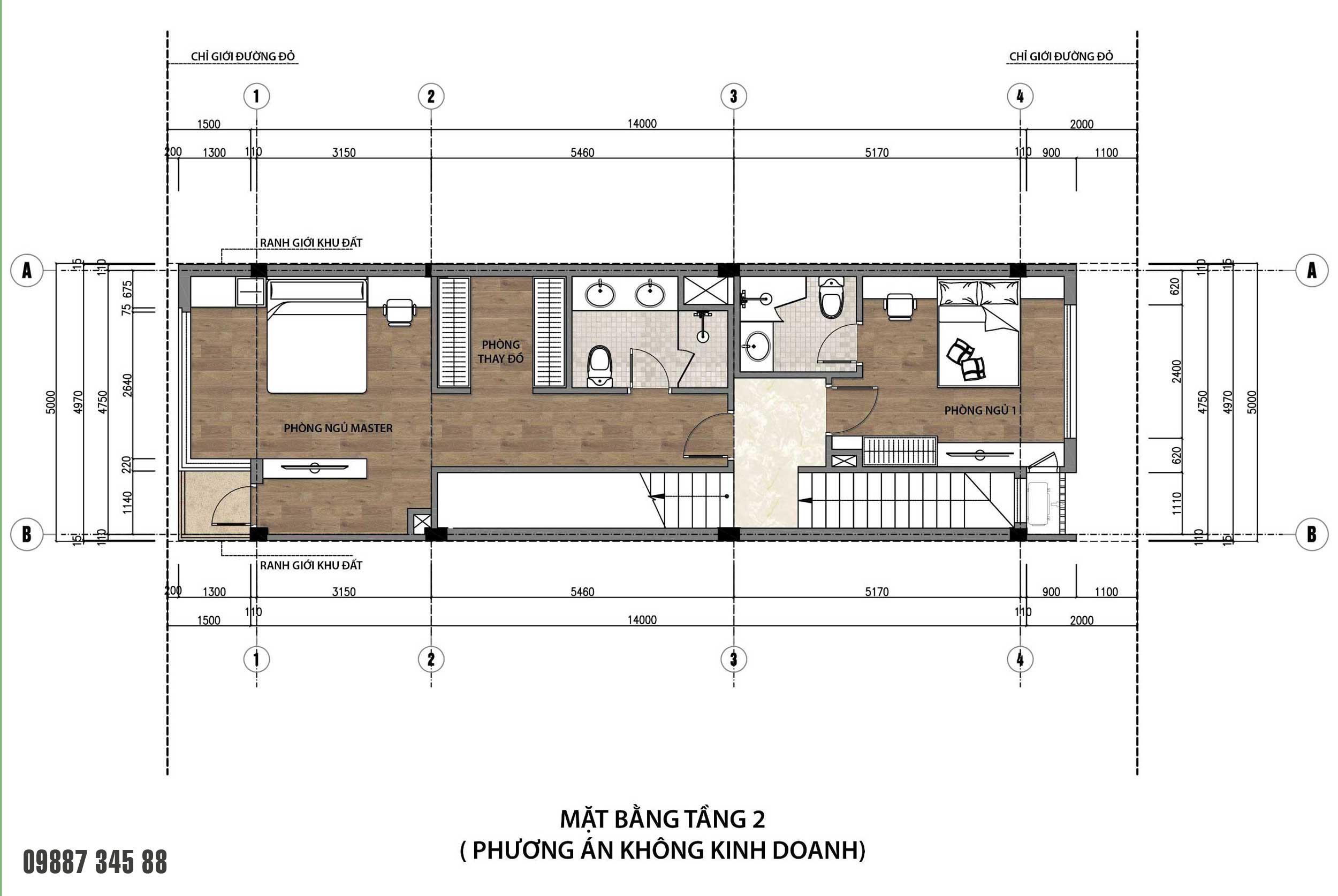 Mặt bằng tầng 2 - nhà phố vườn Thủy Trúc(5x17,5m)