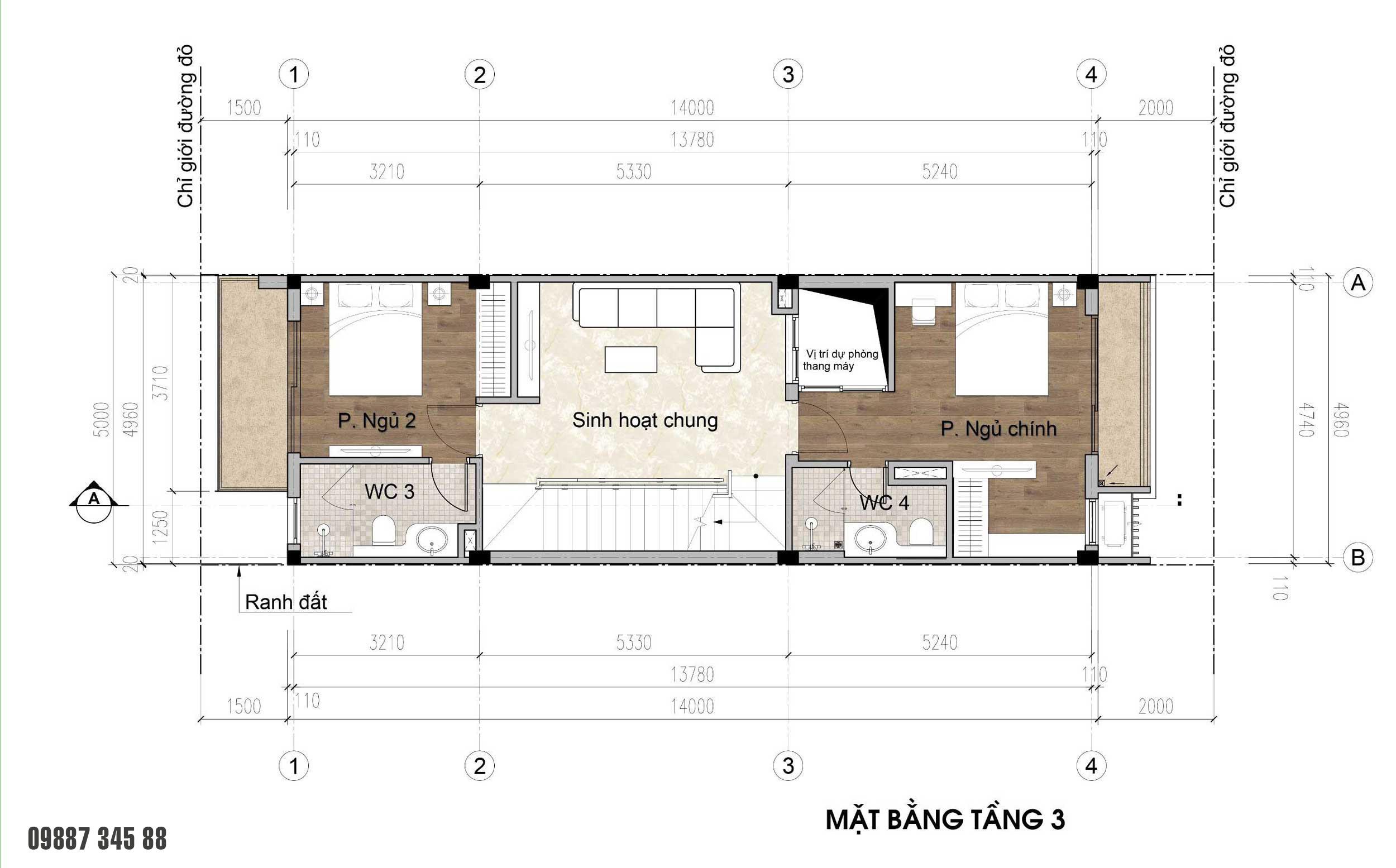 Mặt bằng tầng 3 - nhà phố điển hình Thủy Trúc(5x17,5m)