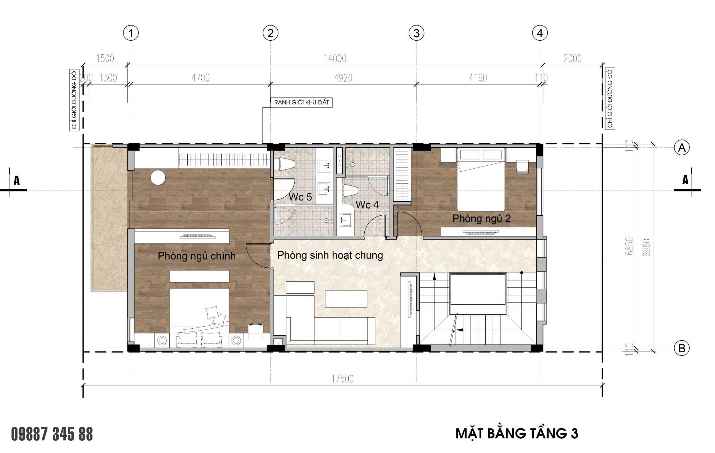 Mặt bằng tầng 3 - nhà phố Thủy Trúc(7x17,5m)