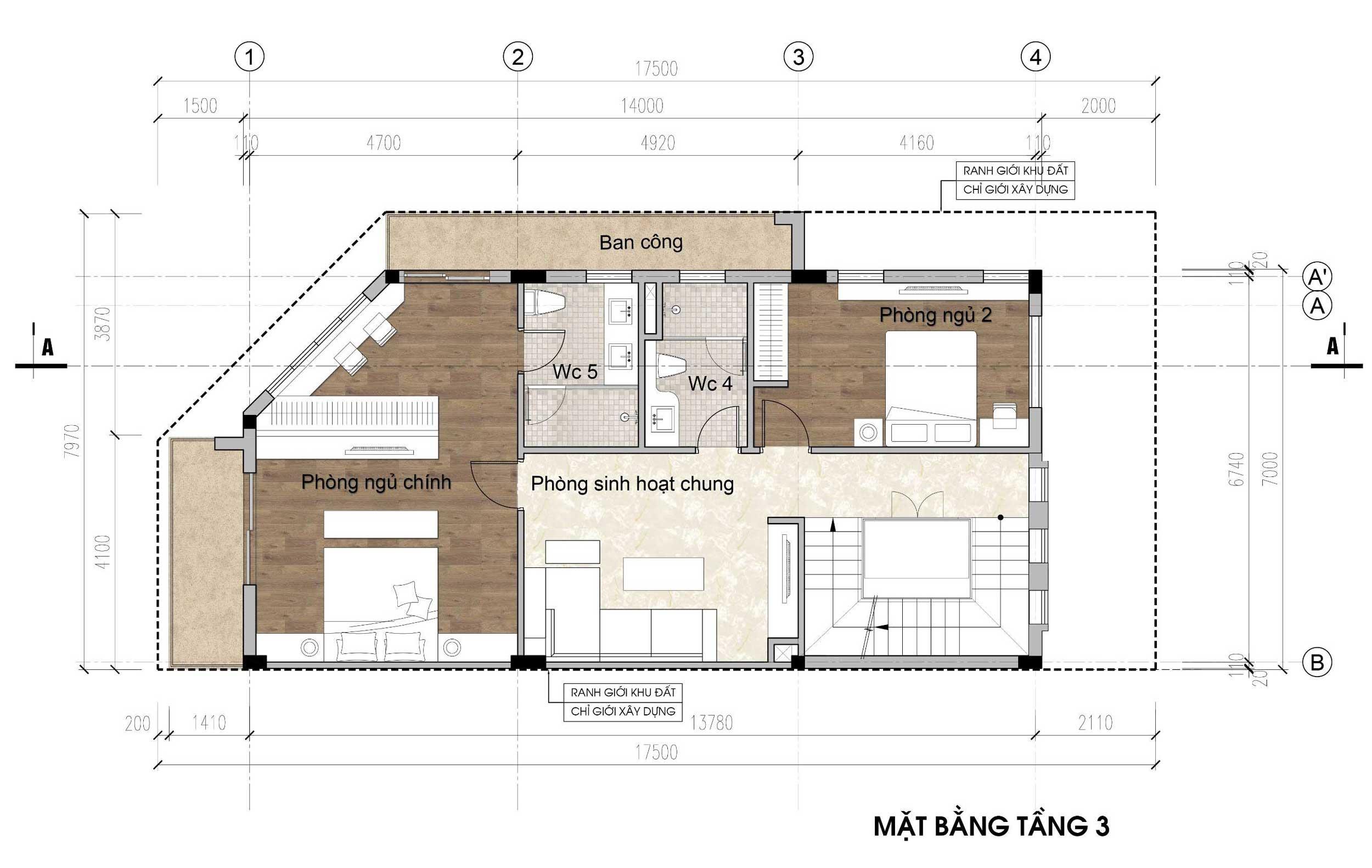 Mặt bằng tầng 3 - nhà phố góc Thủy Trúc(7x17,5m)