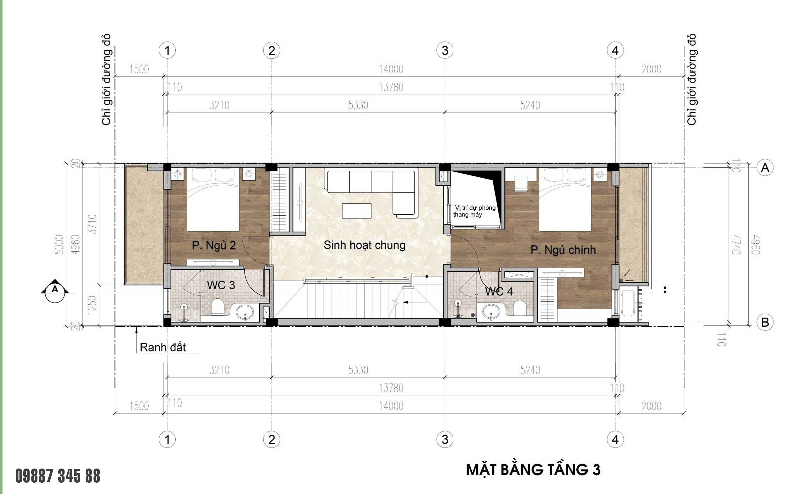 Mặt bằng tầng 3 - nhà phố vườn Thủy Trúc(5x17,5m)