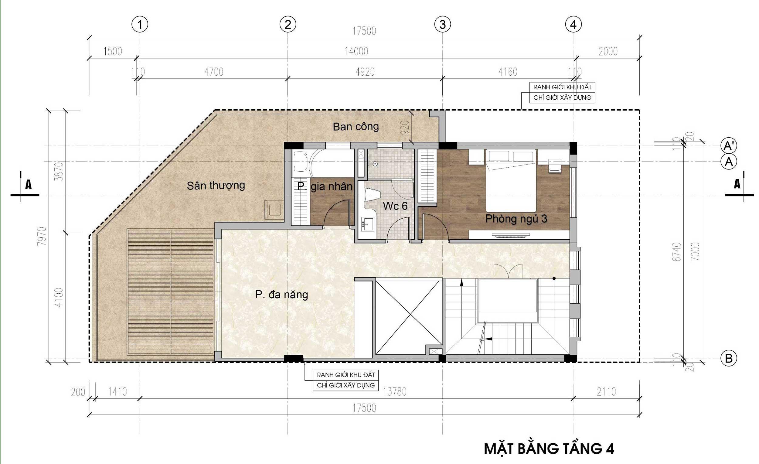 Mặt bằng tầng 4 - nhà phố góc Thủy Trúc(7x17,5m)
