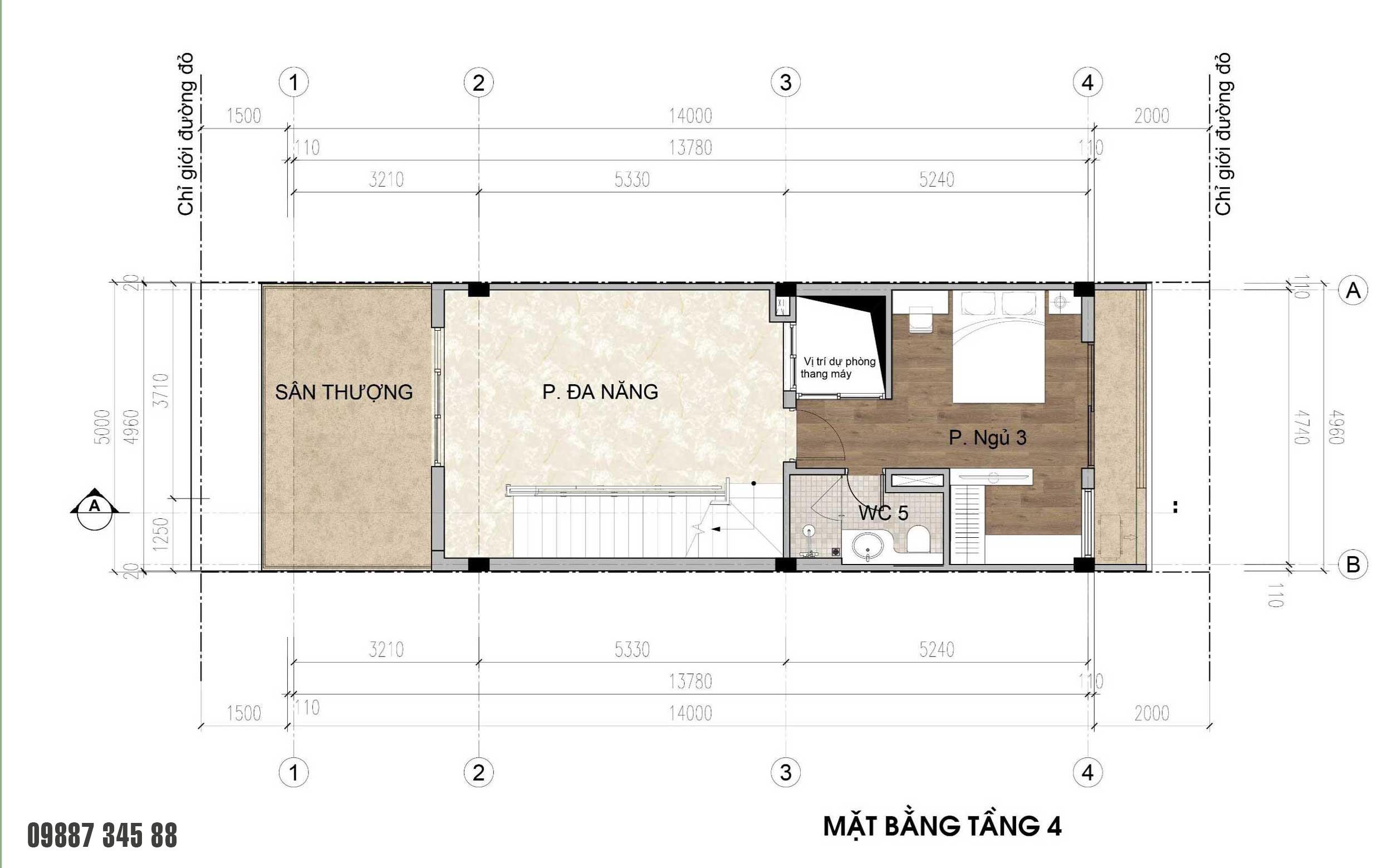 Mặt bằng tầng 4 - nhà phố vườn Thủy Trúc(5x17,5m)