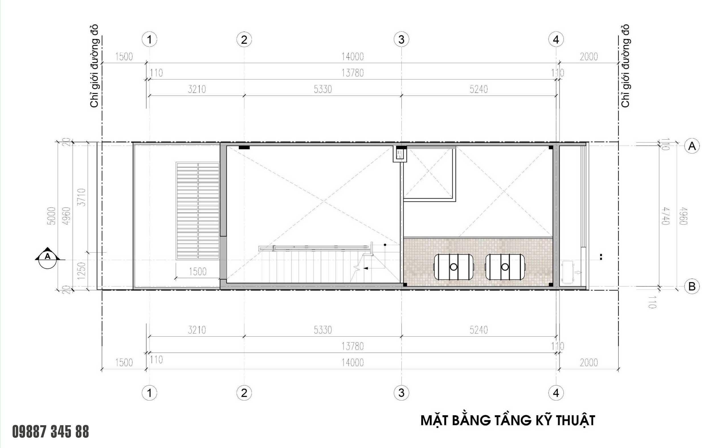 Mặt bằng tầng kỹ thuật - nhà phố vườn Thủy Trúc(5x17,5m)