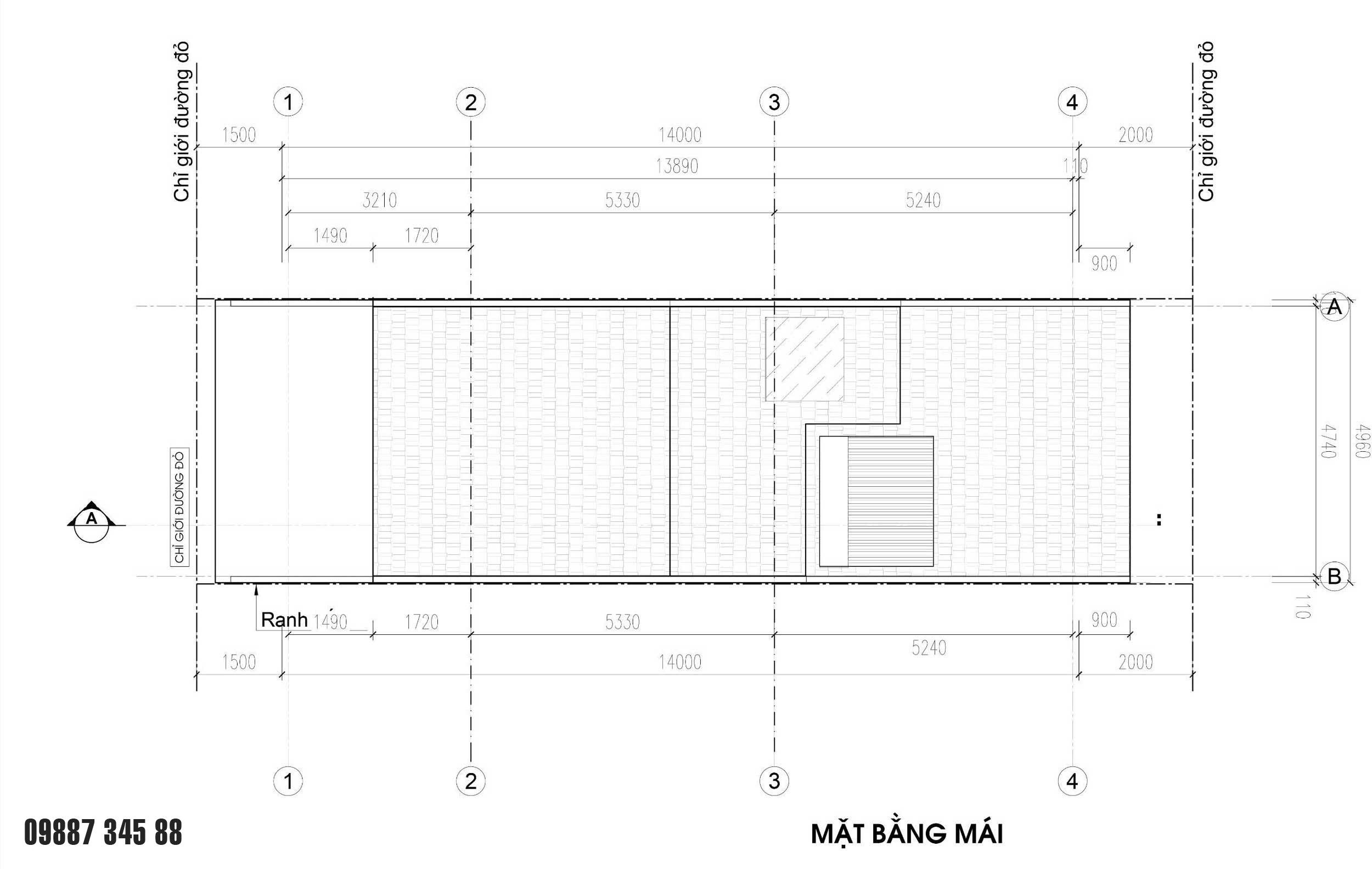 Mặt bằng tầng mái - nhà phố góc Thủy Trúc(05x17,5m)