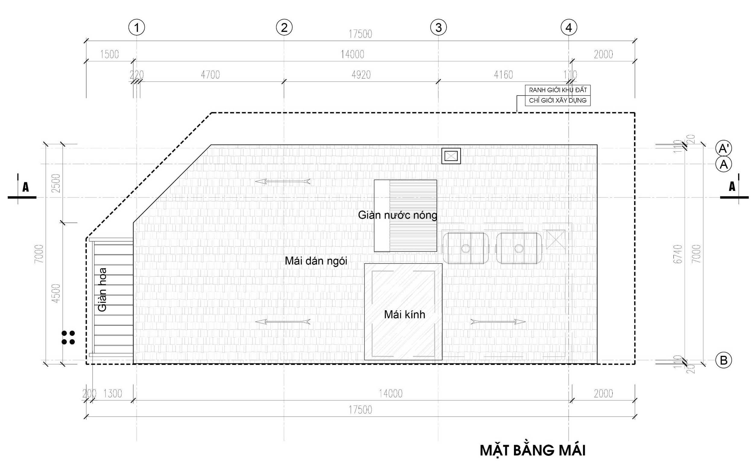 Mặt bằng tầng mái - nhà phố góc Thủy Trúc(7x17,5m)