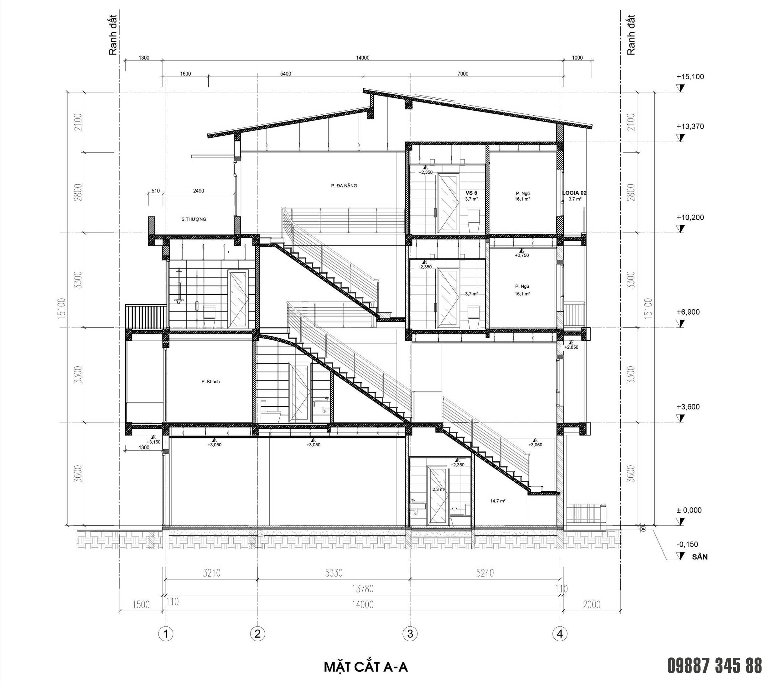 Mặt cắt - nhà phố điển hình Thủy Trúc(5x17,5m)