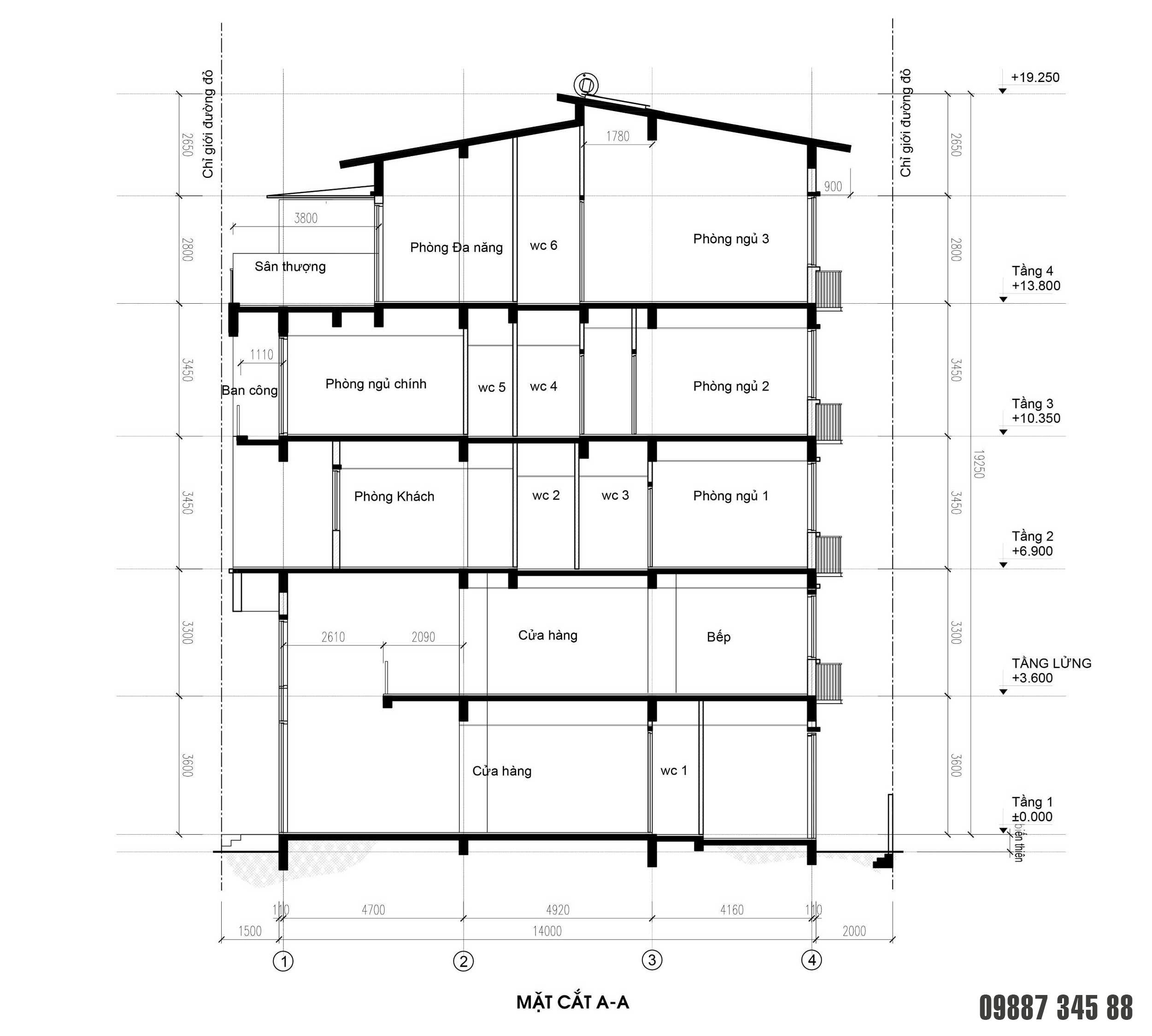 Mặt cắt - nhà phố Thủy Trúc(7x17,5m)