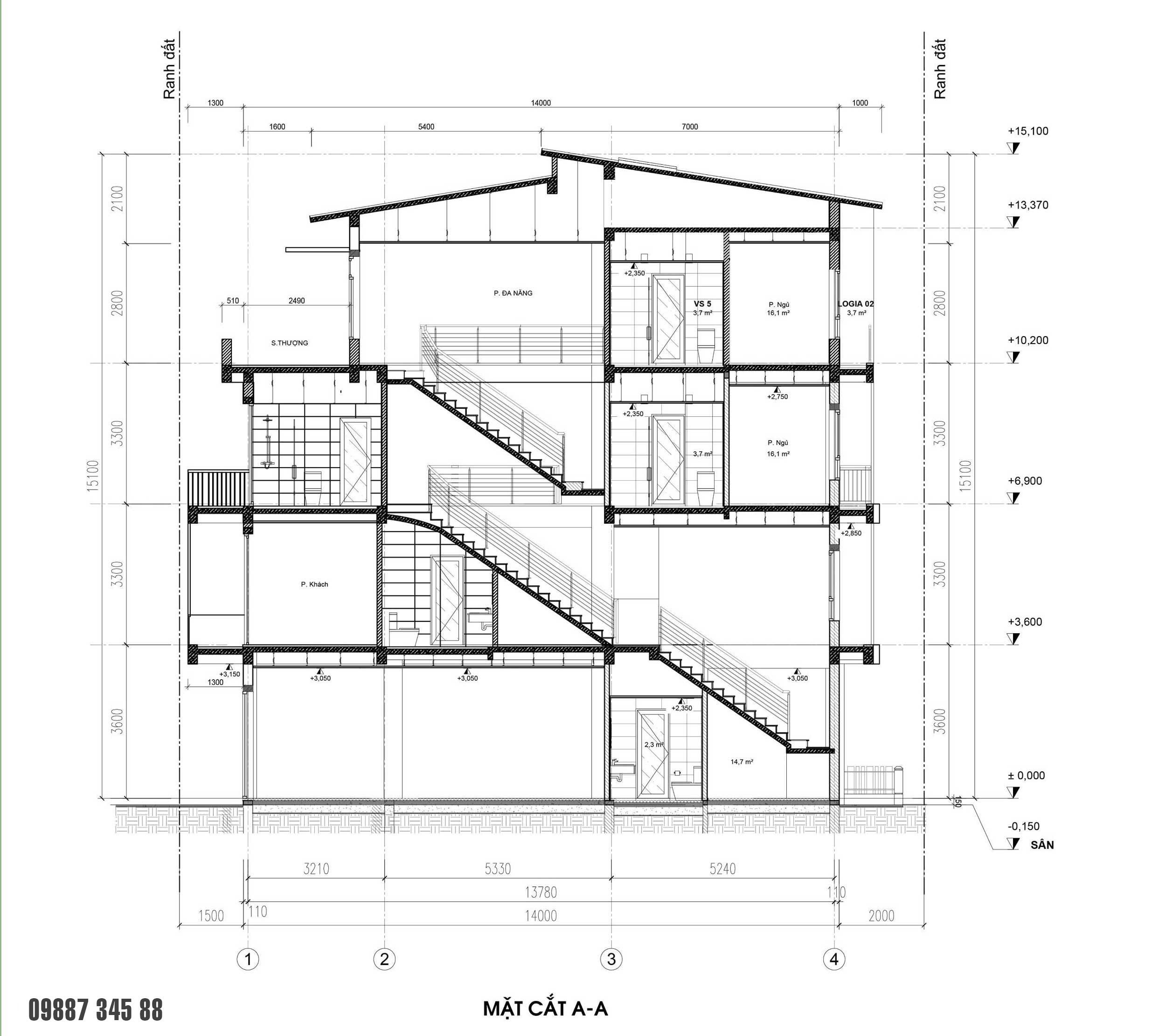 Mặt cắt - nhà phố góc Thủy Trúc(05x17,5m)