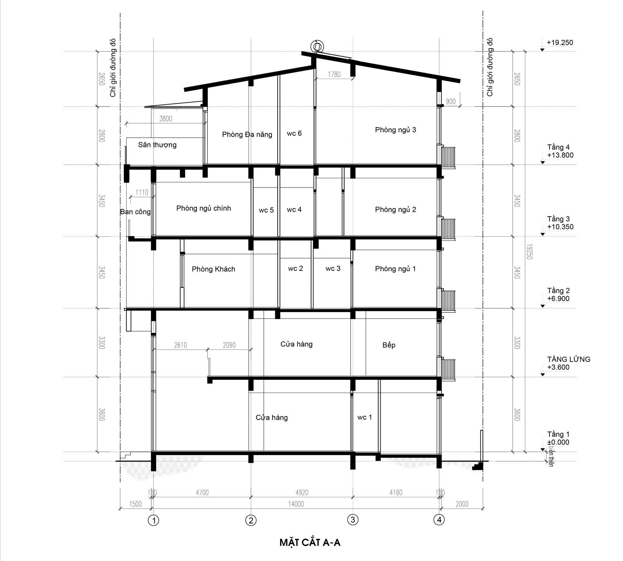 Mặt cắt - nhà phố góc Thủy Trúc(7x17,5m)