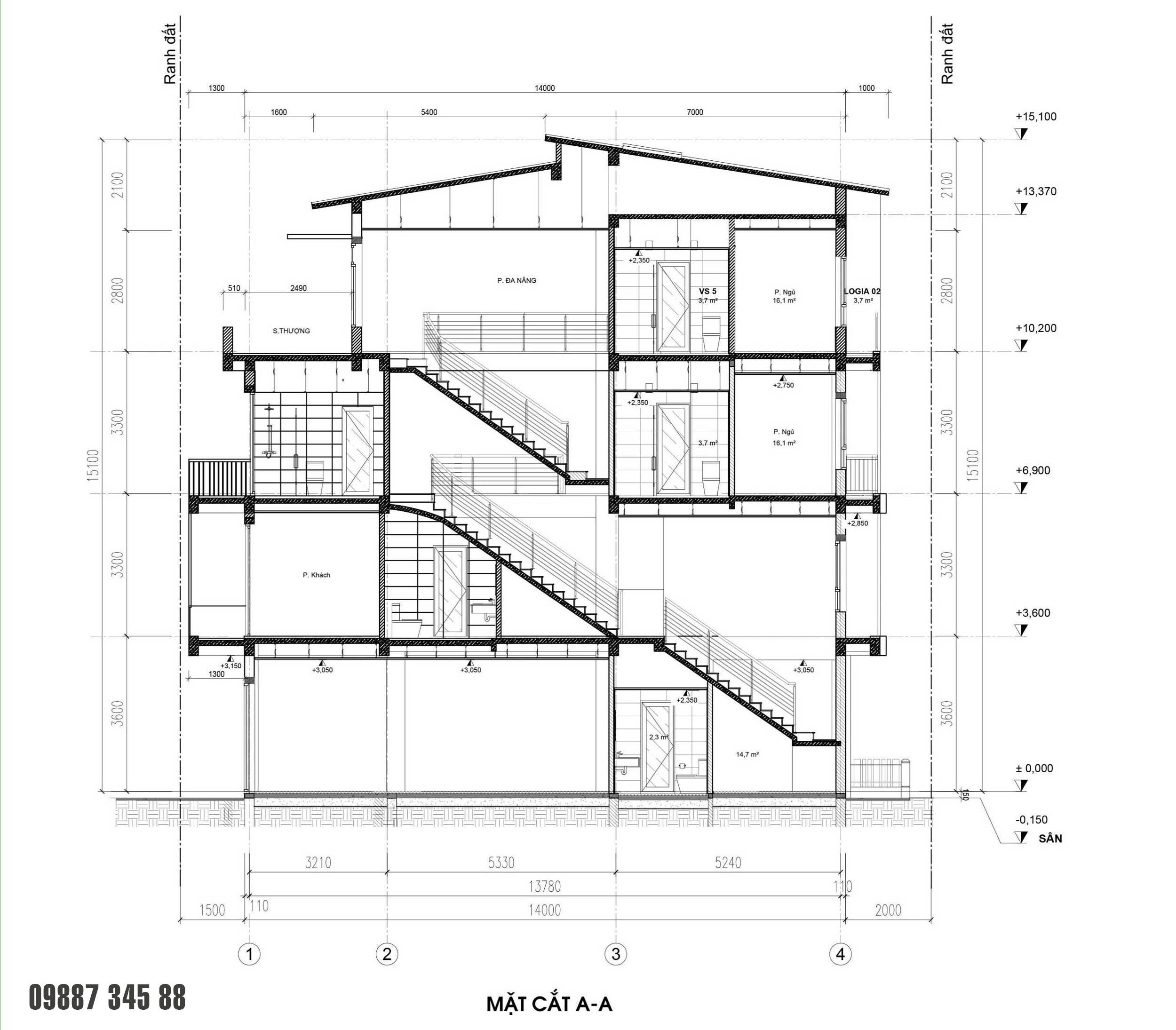 Mặt cắt - nhà phố vườn Thủy Trúc(5x17,5m)