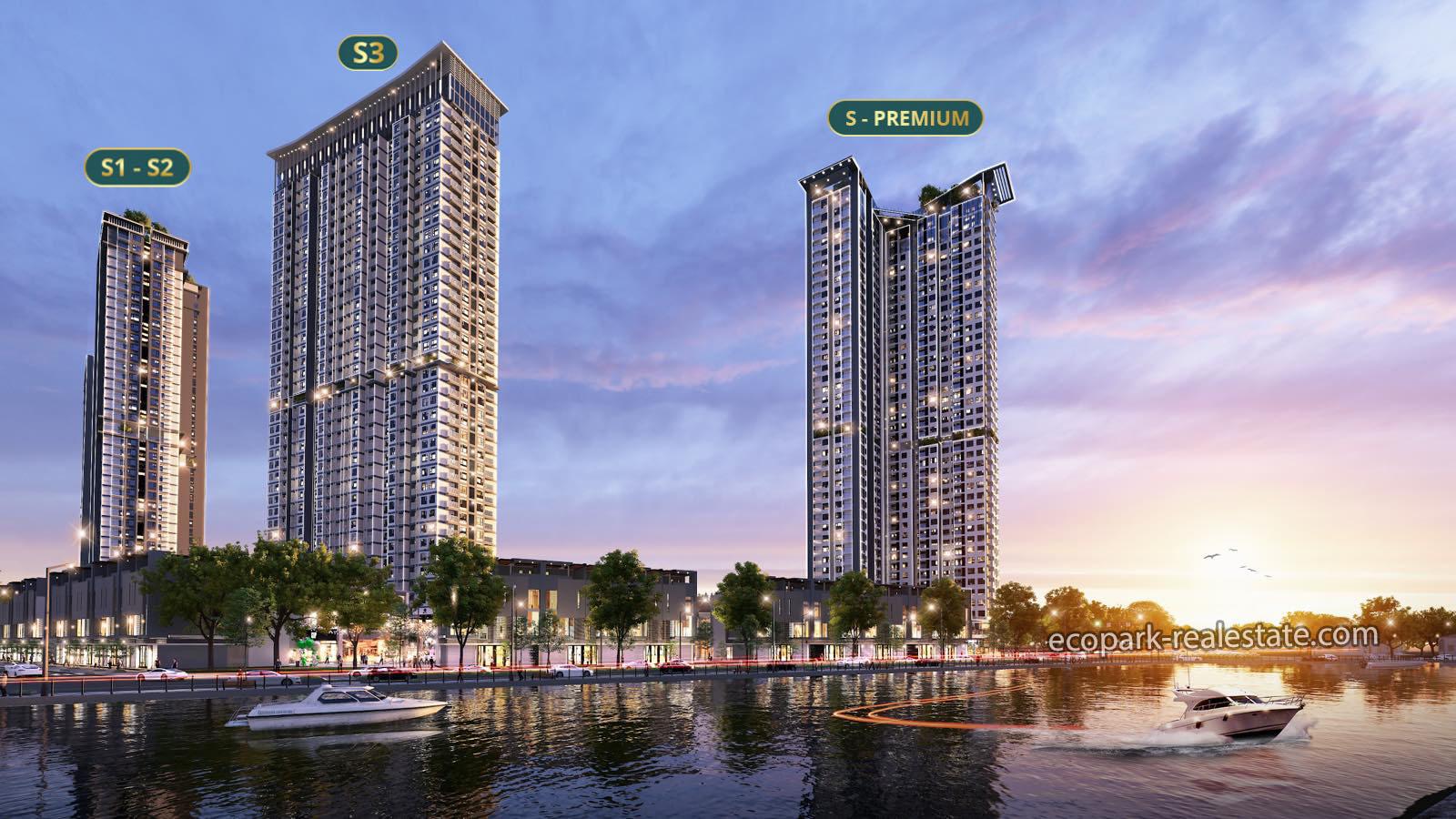 Phối cảnh 4 tòa Chung cư Sky Oasis - Ecopark