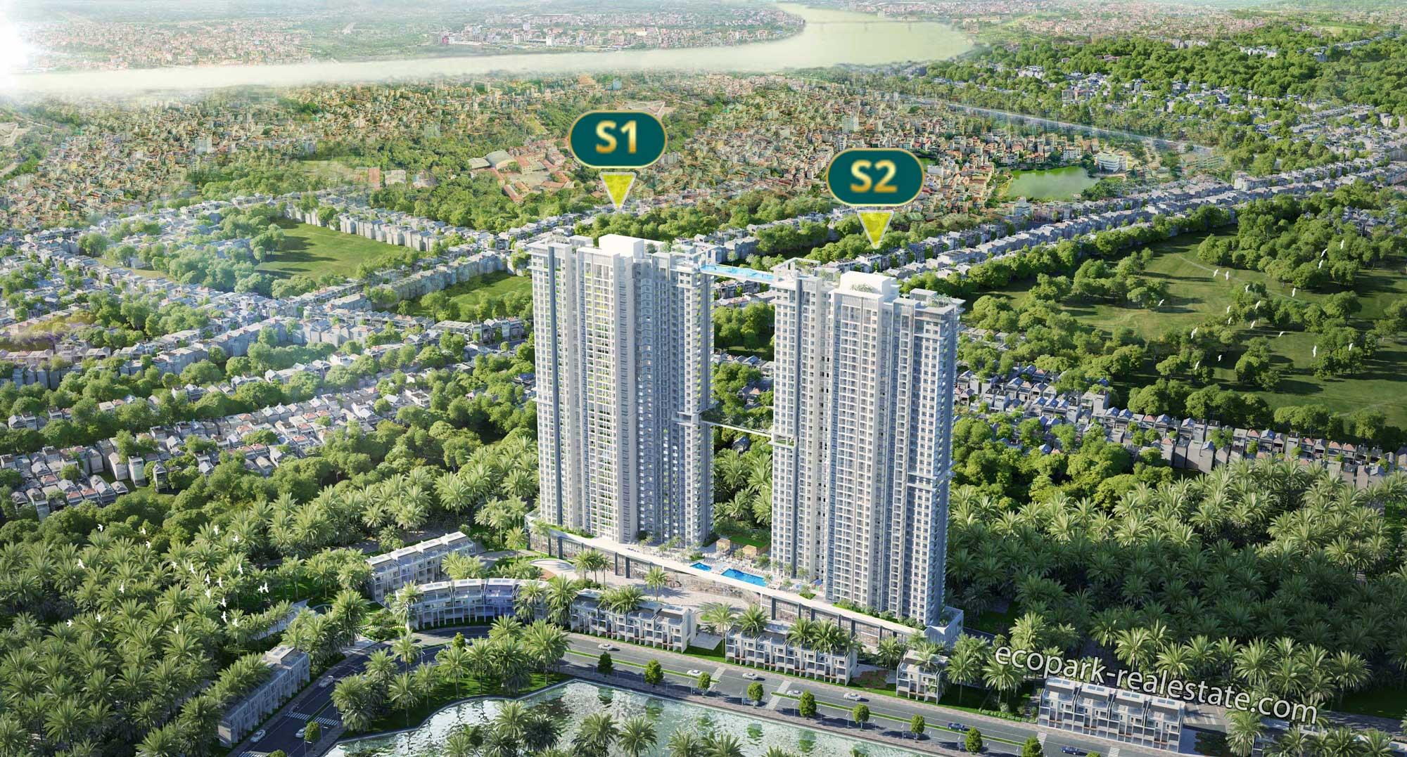 Phối cảnh tòa S1 và S2 Chung cư Sky Oasis - Ecopark