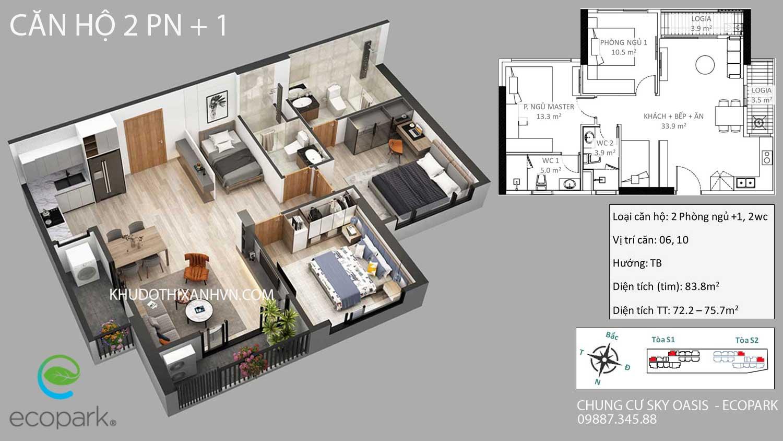căn-hộ-2-phòng-ngủ-+-1-chung -cư-sky-oasis