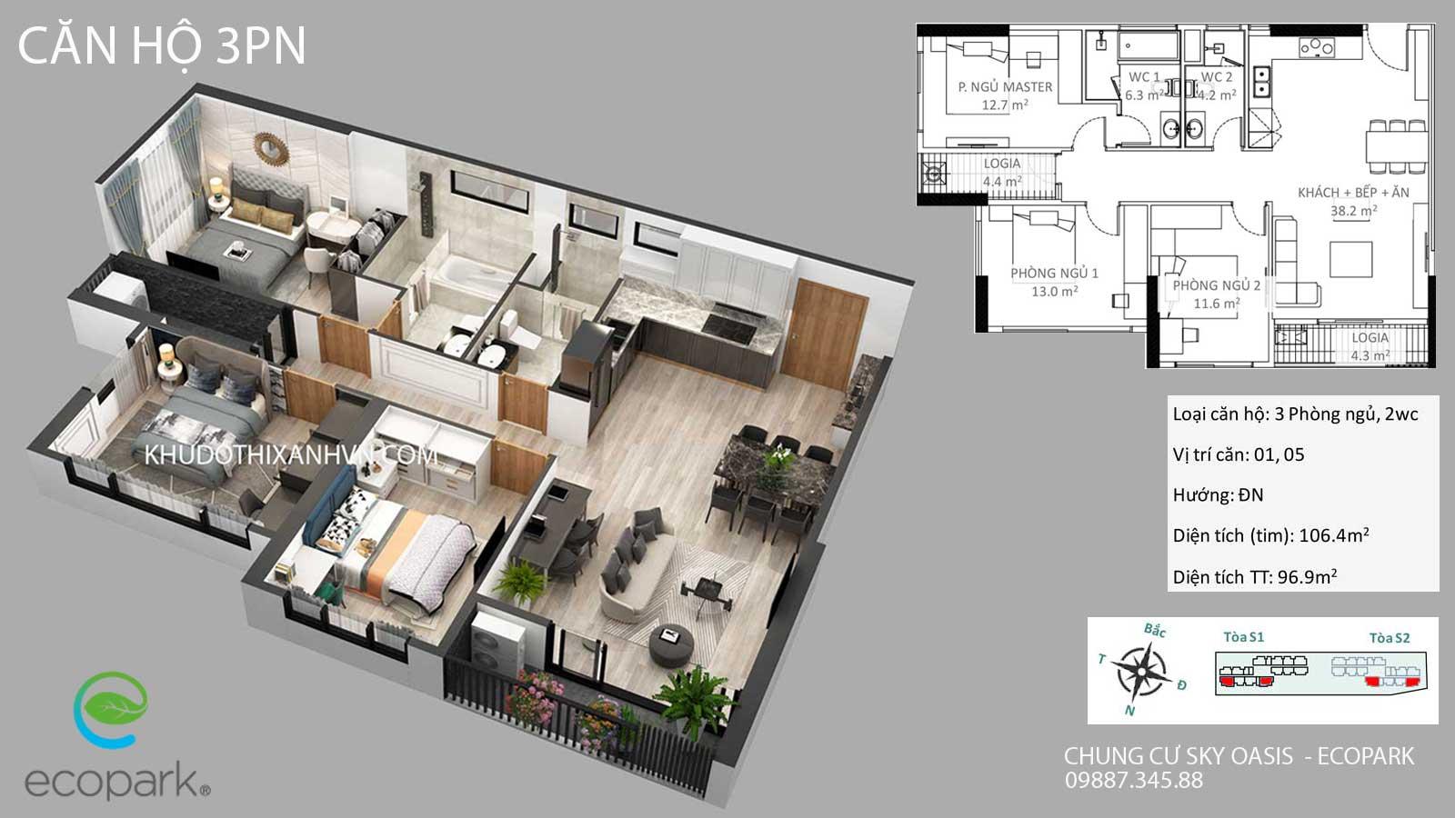 căn-hộ-3-phòng-ngủ-chung -cư-sky-oasis