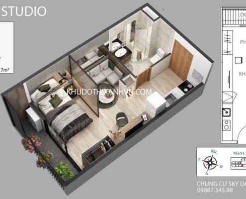 căn-hộ-studio-chung -cư-sky-oasis