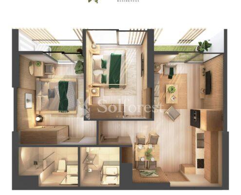 Căn hộ 2 phòng ngủ - Solforest Ecopark