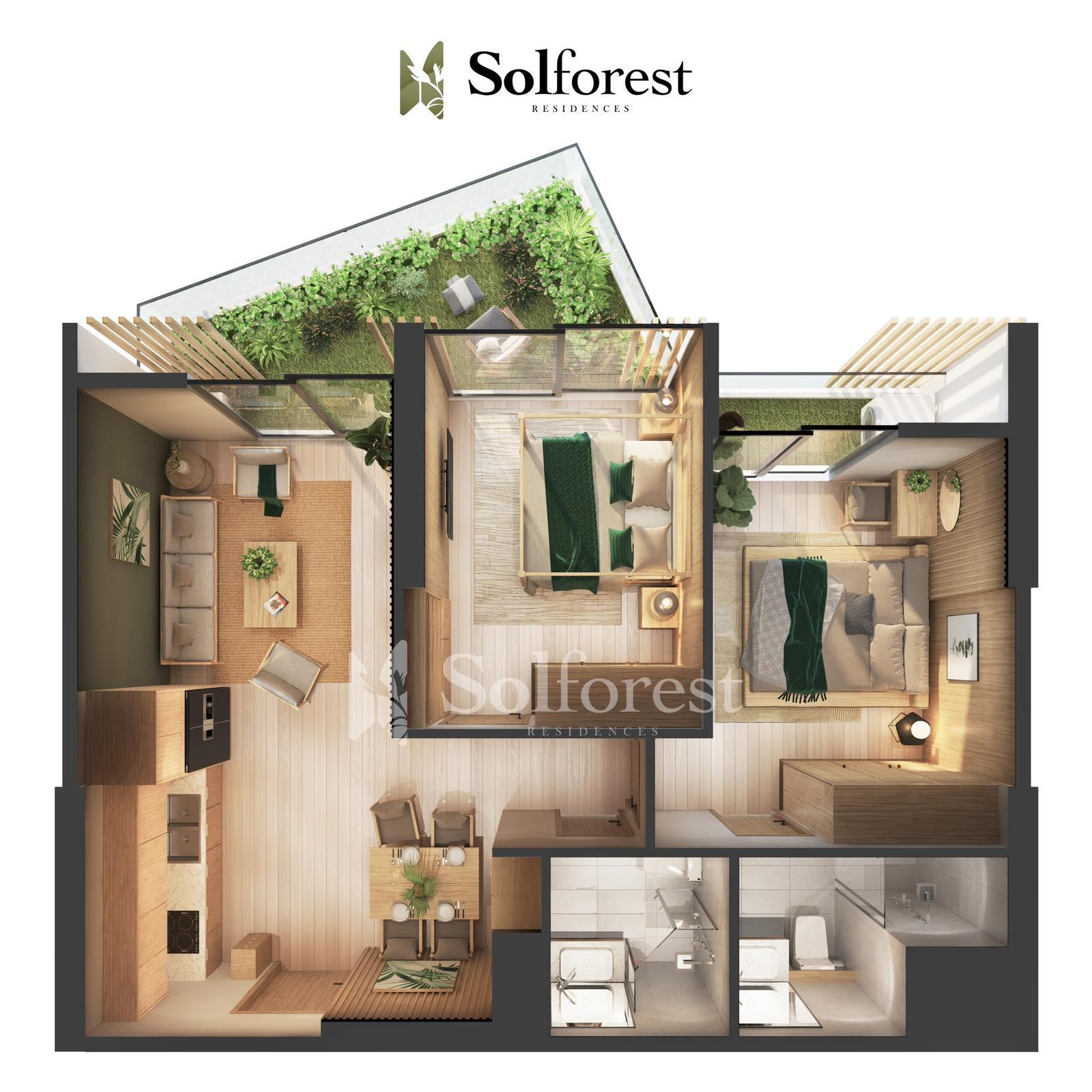 Căn hộ Sân Vườn 2 phòng Ngủ Solforest Ecopark- 01