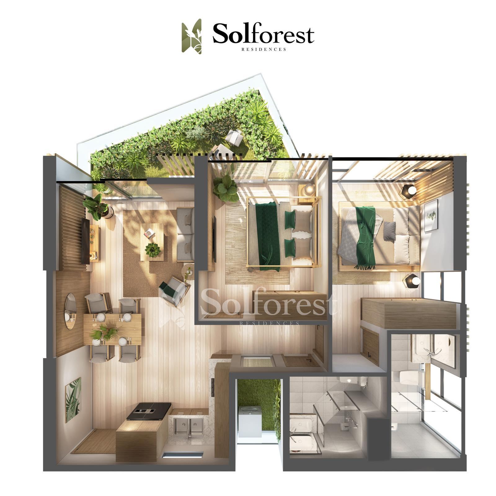 Căn hộ Sân Vườn 2 phòng Ngủ Solforest Ecopark- 02