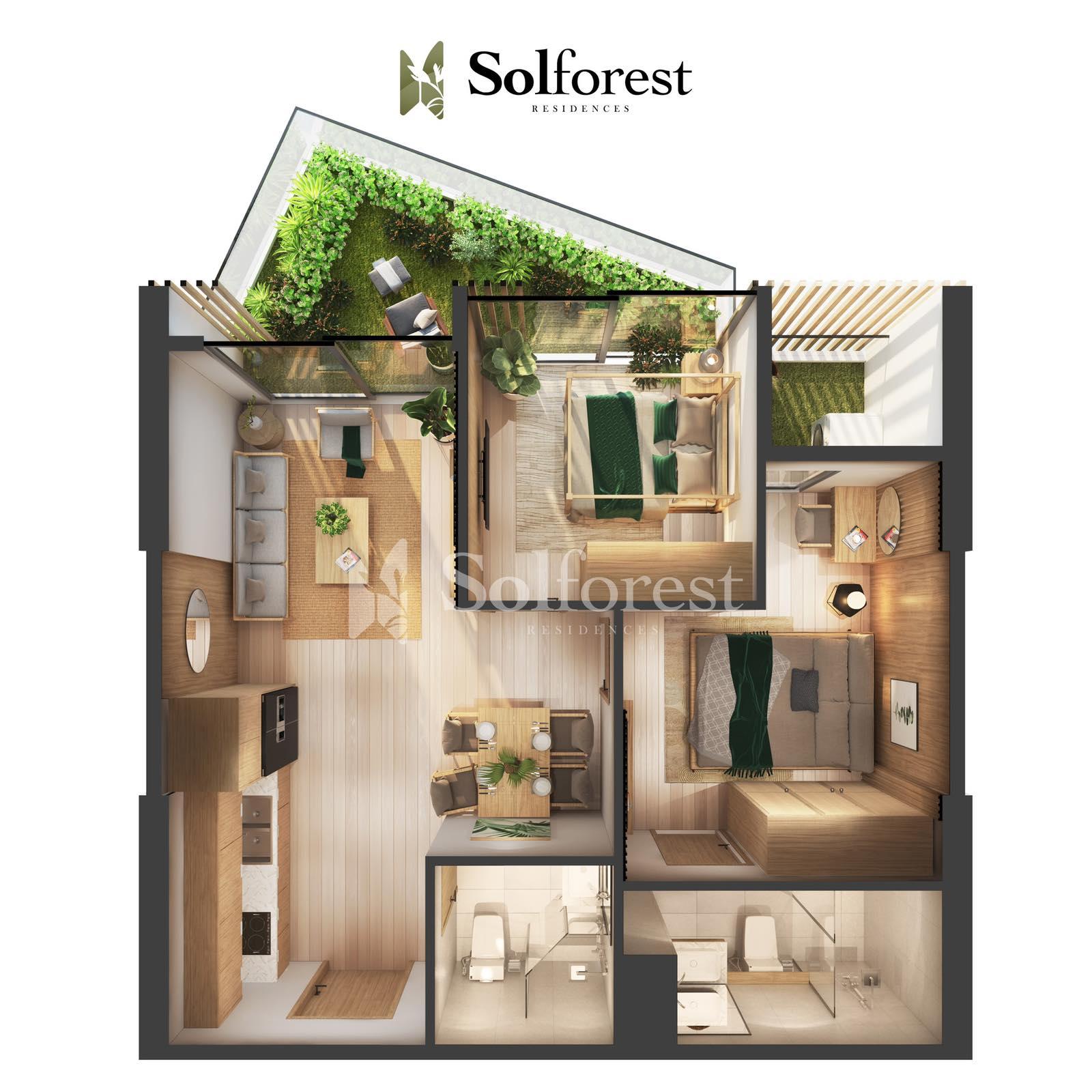 Căn hộ Sân Vườn 2 phòng Ngủ Solforest Ecopark- 03