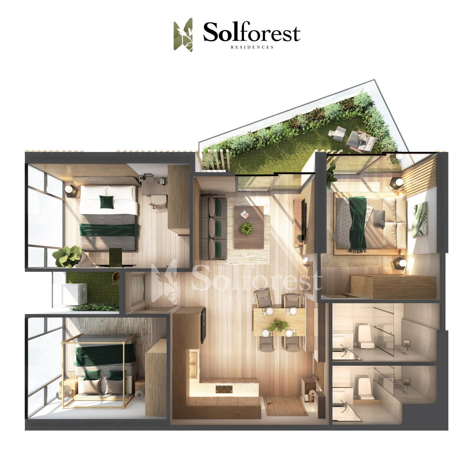 Căn hộ Sân Vườn 3 phòng Ngủ Solforest Ecopark- Căn góc