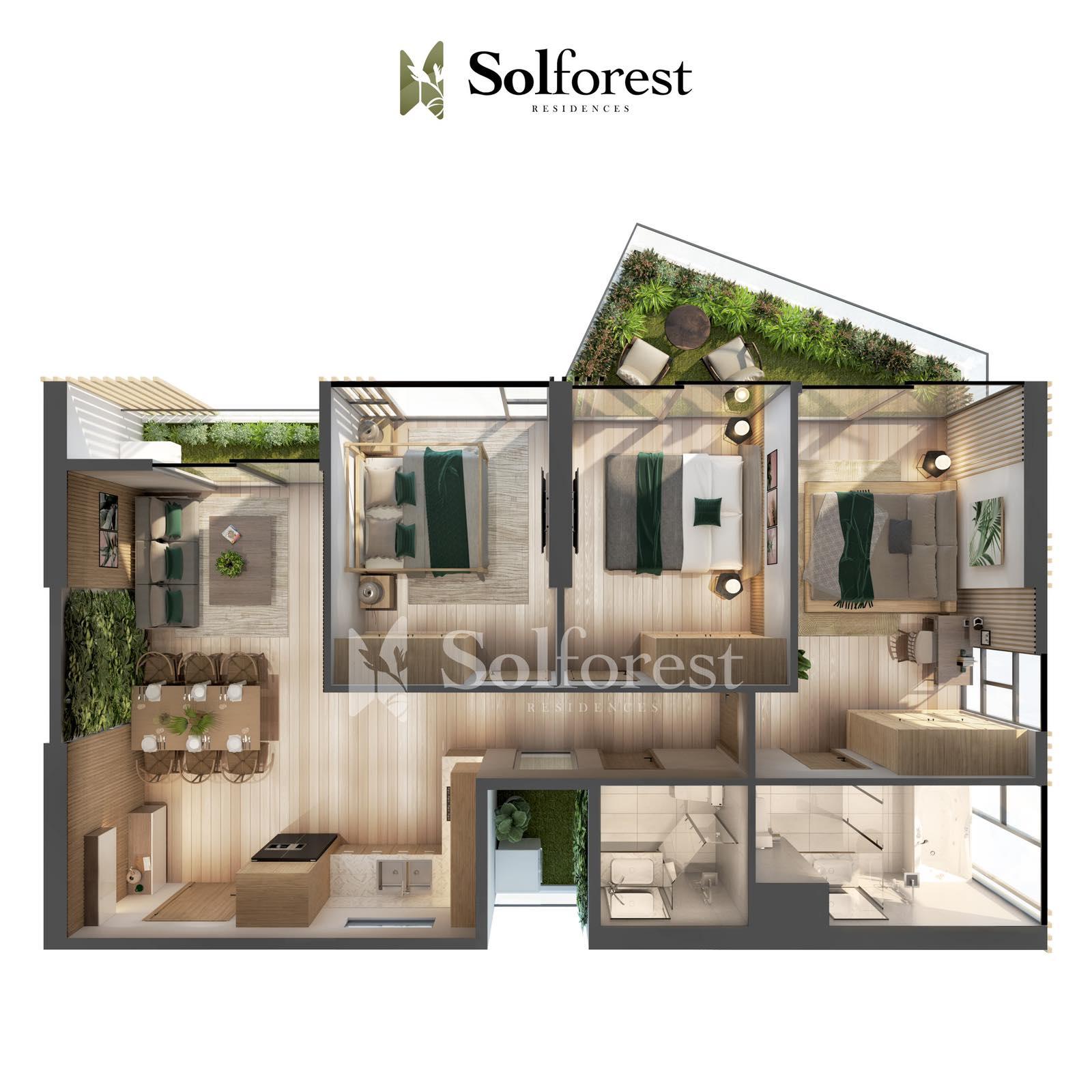 Căn hộ Sân Vườn 3 phòng Ngủ Solforest Ecopark-Điển hình 01