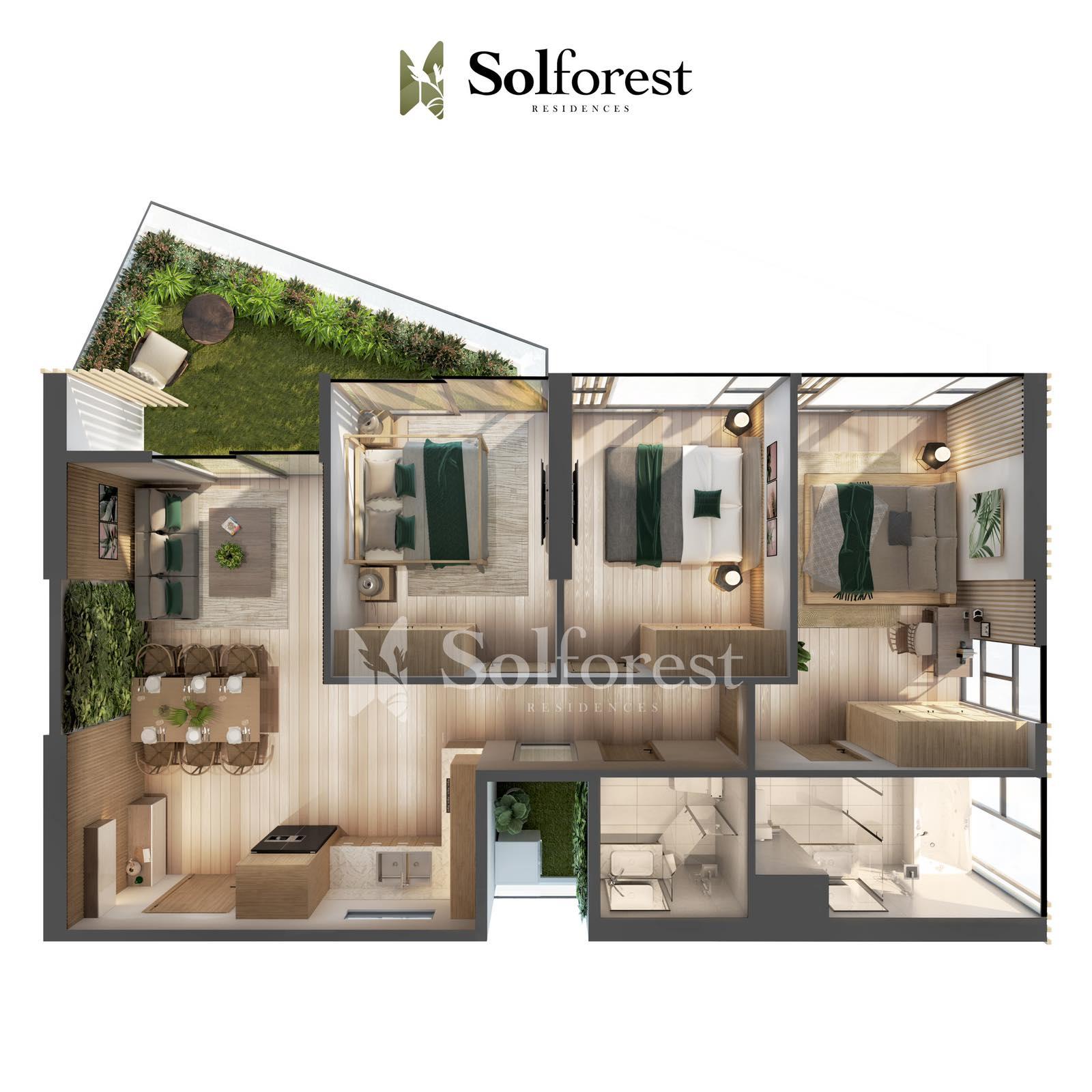 Căn hộ Sân Vườn 3 phòng Ngủ Solforest Ecopark-Điển hình 02