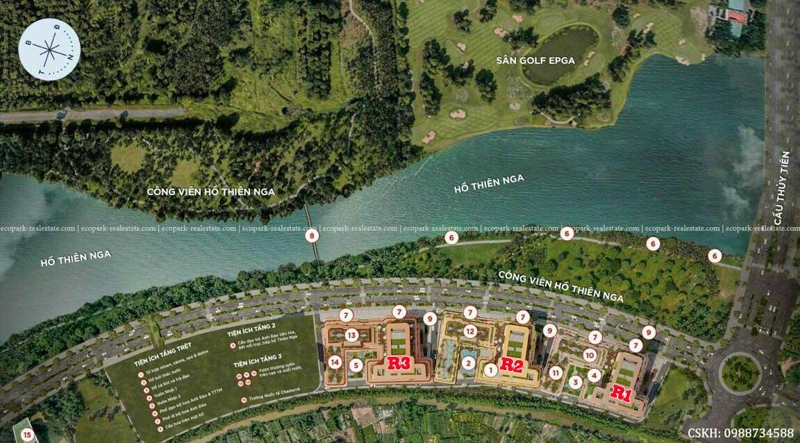 Mặt bằng tổng thể chung cư Swan Lake Residences The Onsen Ecopark